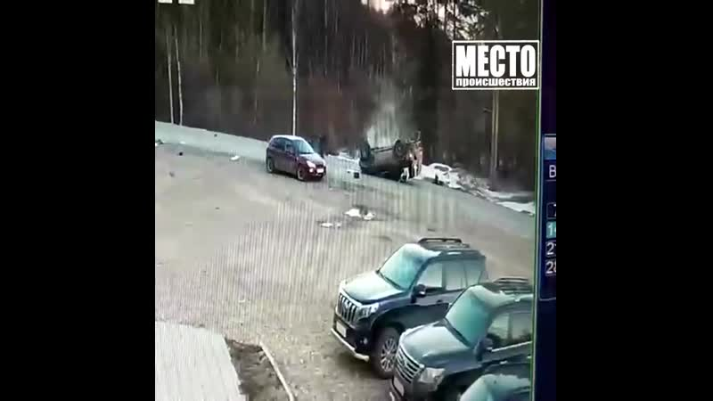 Кувырки пьяного водителя на Ниссане
