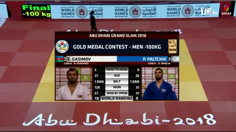 Grand-Slam Abu Dhabi 2018 final -100 kg PALTCHIK Peter (ISR)-GASIMOV Elmar (AZE)