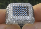 Estate Certified Mens Fancy Black and White Diamond Ring Gentlemen's Estate Ring - C858