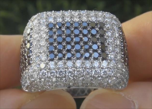 Estate Certified Men's Fancy Black and White Diamond Ring Gentlemen's Estate Ring - C858