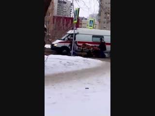 Последствия ДТП с пешеходом на Бульваре Архитекторов (18.01.2019)