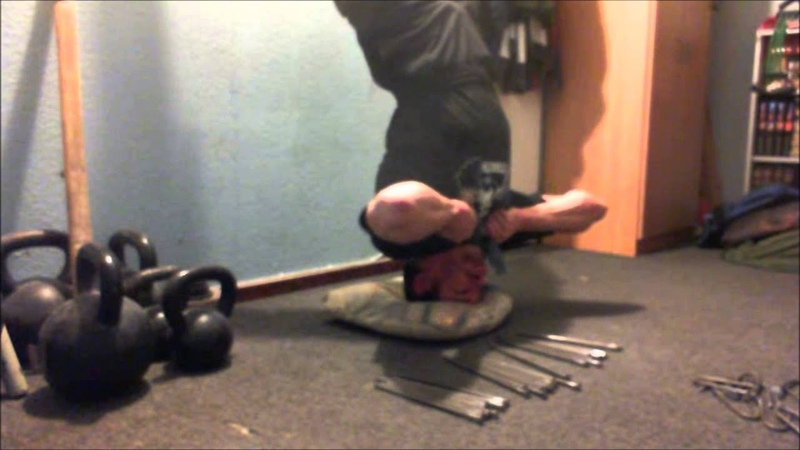 FBC and Stronger Grip - UNbraced Bending 32X 10'' Spikes in the Headstand Position Against the Wall!