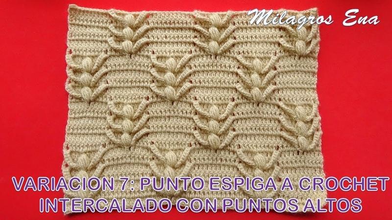 Variación 7 Punto Espiga a crochet Intercalado con puntos Altos para aplicar en cojines
