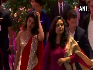 Priyanka Chopra and Nick Jonas arrive for Mukesh and Nita Ambani's son, Akash Ambani's engagement with Shloka Mehta, in Mumbai