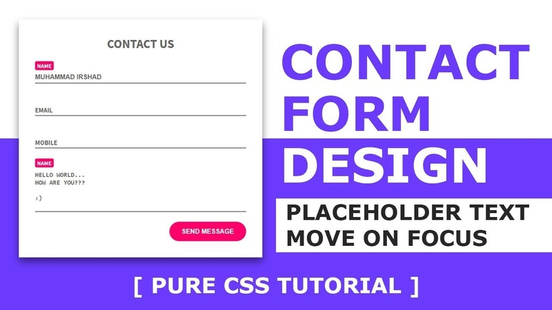 Contact Us Page Design with Html and CSS - How to move placeholder to top on focus - Tutorial
