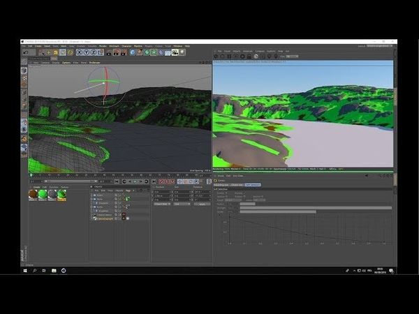 Layered terrains in Cinema 4d and Octane render