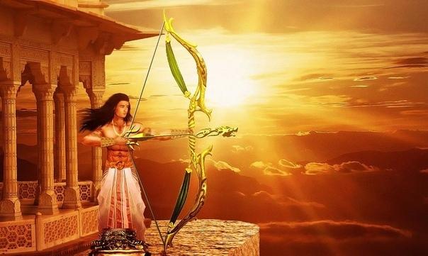 Гандива - волшебный лук Арджуны Гандива - это лук с сотней тетив и бесконечным запасом стрел. Этот лук невозможно разрушить. Каждый раз, когда он стреляет, то раздается страшный громоподобный