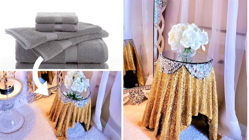 HOW TO TURN TOWELS INTO GLAM SIDE TABLES| Home Decor Ideas 2019| Sunroom Decor!