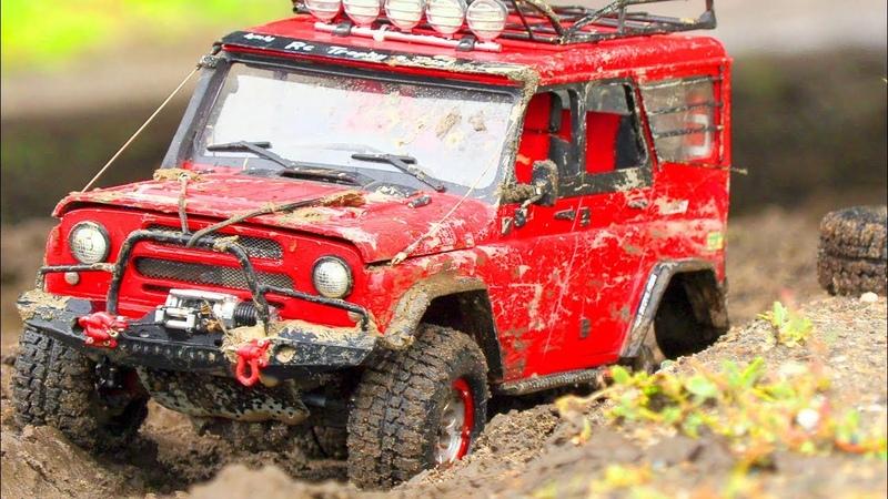 RC Cars Crazy Mud Racing — Axial SCX10 II – Jeep Cherokee, HPI Venture FJ Cruiser, UAZ 469