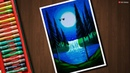 Moonlight Waterfall scenery drawing for beginners with Oil Pastels step by step