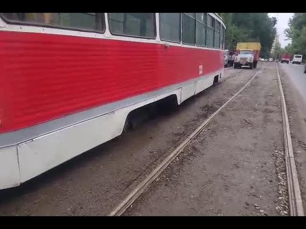 На улице Огородной сошел с рельс трамвай № 8