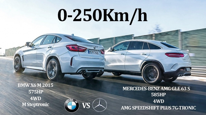 COMPARATIVE! BMW X6 M 2015 575Hp Vs MERCEDES BENZ AMG GLE63 S 2015 585Hp - 4WD V