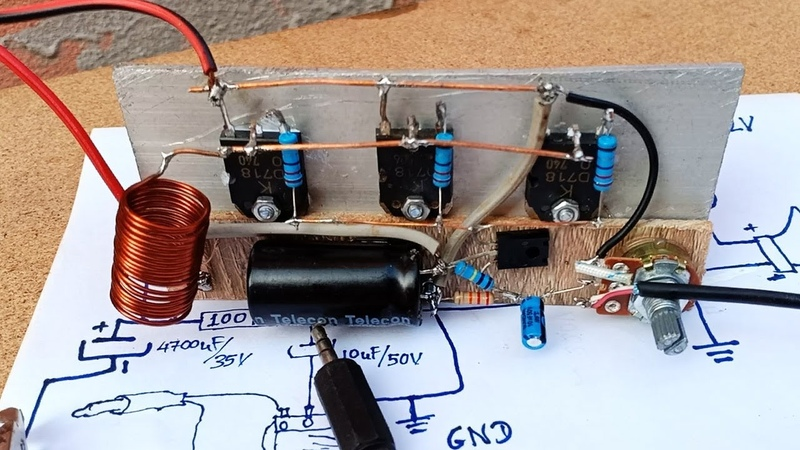 How to make easy Amplifier 3 Transistors D718 full power at home