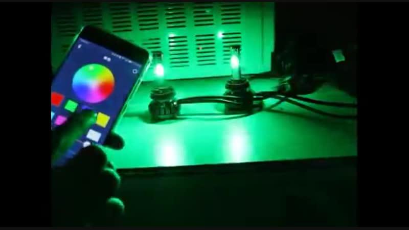 Цветные светодиодные лампы управляемые со смартфона H1H4 H7 H8/H11