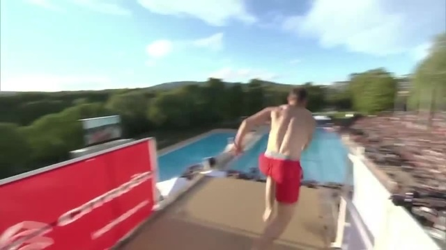 Unusual pool dive
