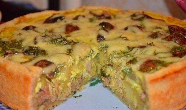 Вкусный и сытный пирог с курицей и картофелем!