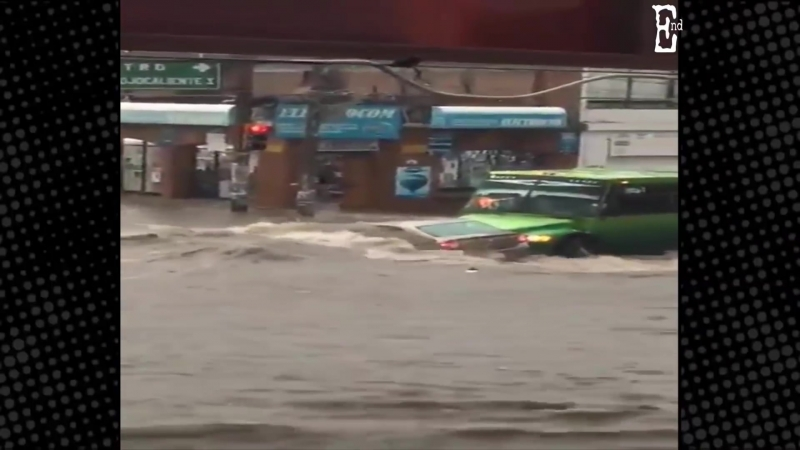 Worst flood and storm streets turned into rivers in Aguascalientes Mexico