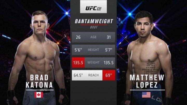 UFC 231 Брэд Катона Vs Мэттью Лопес