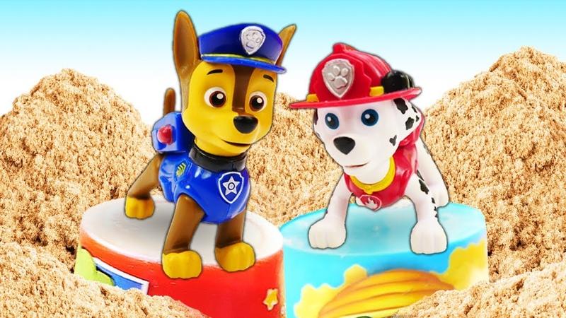 Мультики для детей Щенячий патруль строит башни из песка Песочница для малышей