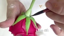 How to make a rose stems clay flowers ( Full clips)