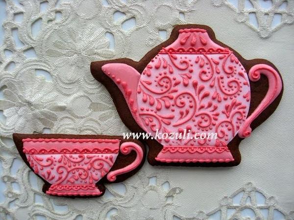 Имбирные пряники Чайник и чашка. Роспись пряников, имбирного печенья глазурью (айсингом)