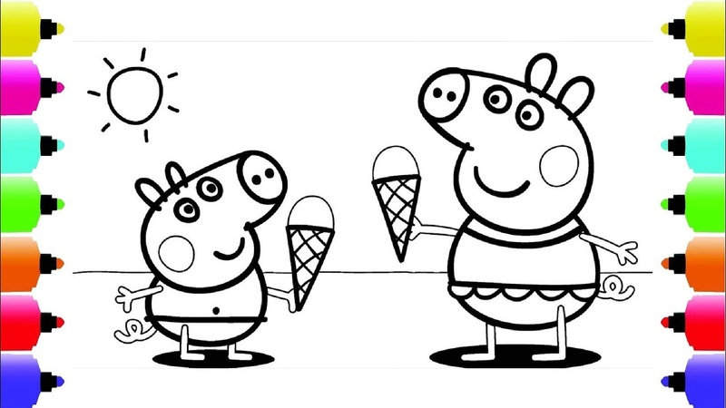Peppa's Paintbox Peppa Pig Ice Cream Coloring Pages Cartoon Episodes 2 PeppaPig