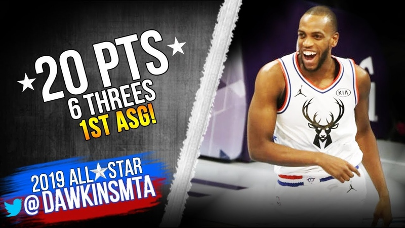 Khris Middleton Full Highlights in 2019 All-Star Game - 20 Pts, 6 Threes in 1st ASG! | FreeDawkins