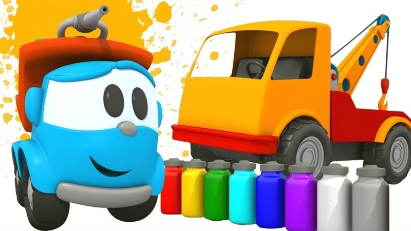 Painting a Tow truck with Leo the Truck - A Cartoon for Kids