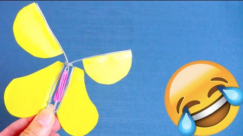 飛んでびっくり!蝶のおもちゃの作り方(メッセージカードとしてもOK)100均