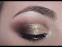 Коричнево золотистый смоки кремовыми текстурами Make Up
