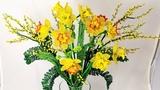 Мастер класс Нарциссы многоцветковые из бисера Бисероплетение Цветы из бисера