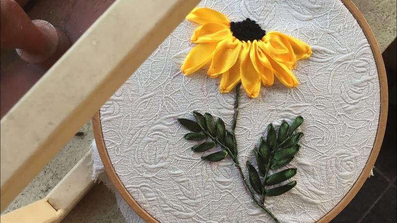 D.I.Y Ribbon Embroidery Sun Flower / Hướng dẫn thêu ruy băng hoa hướng dương