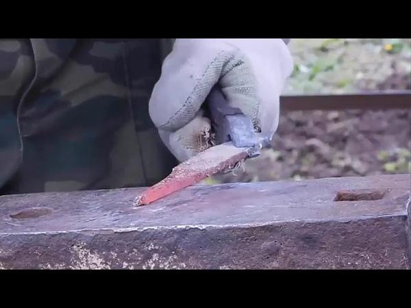 Делаю нож с нуля. Весь процесс, от ковки до ножен.