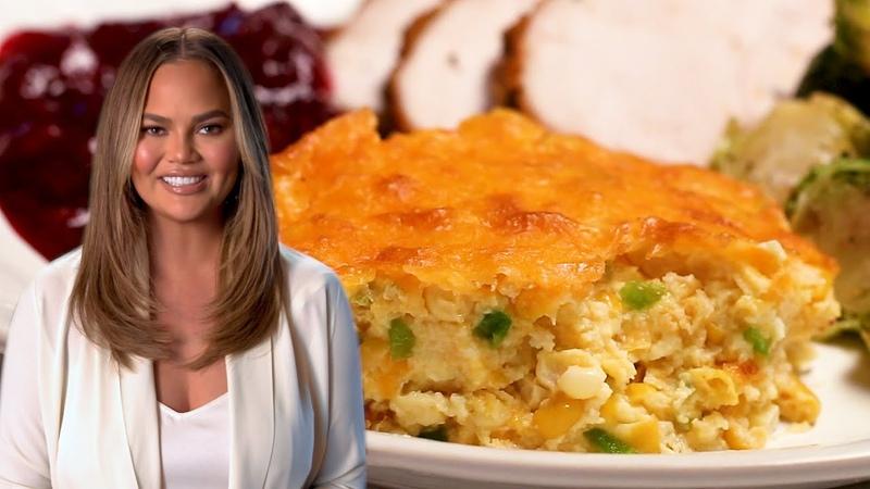 Chrissy Teigen Makes Jalepeño Cheddar Corn Pudding