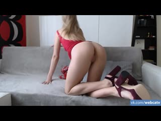 Vera1995 anal trainnig on ultra cute blonde in sexy red dress [anal, solo, masturbation, toys, girl, tits, ass, fingering]