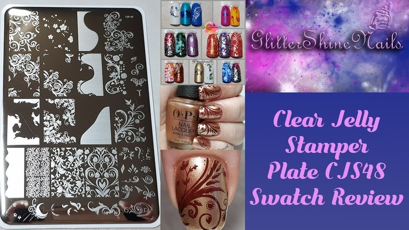 Clear Jelly Stamper Stamping Plate Swatch Review CJS-48 Sweet Swirl