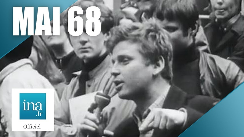 Mai 68 Daniel Cohn-Bendit dans la cour de la Sorbonne   Archive INA