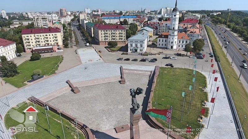 Аэросъемка города Могилёв площадь Славы Ратуша Mogilev Belarus