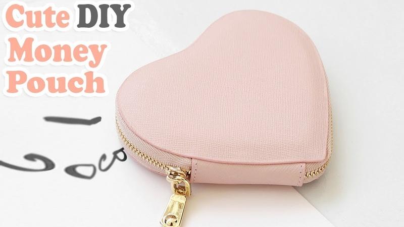 DIY HEART PURSE BAG PU Lather Zipper Money Pouch Credit Card Holder No Sew