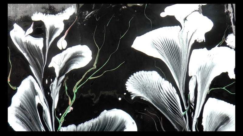 Заливка Акрилом, Рисуем цветы Веревочкой и Цепью. Painting the flowers with chain and string
