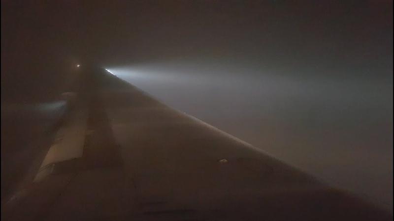 Delta MD-88 Go Around and landing, DENSE FOG.