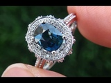 Certified Jewelry UNHEATED VVS Natural Blue Sapphire Diamond 14k Gold Engagement Ring - A141732