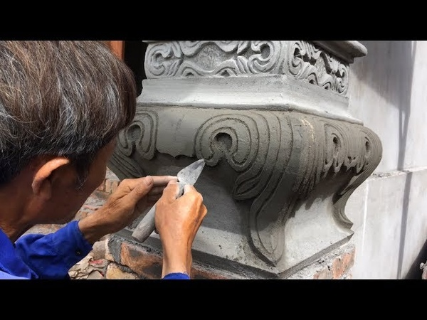 Amazing Skills Contruction | Beautiful Column Construction | Fantastic Carving Skill - How To Render