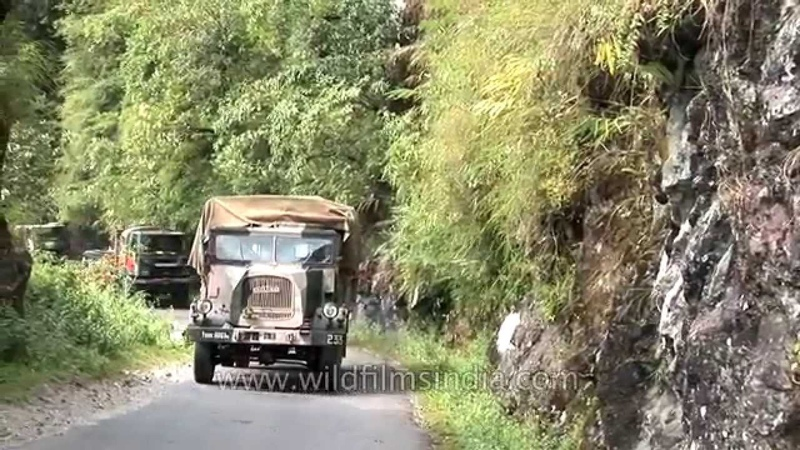 Indian Army Shaktiman and Ashok Leyland truck convoy drives to Indo-China border in Sikkim