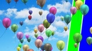 Green and Blue Screen Balloons Flying in the Sky - Free Footage