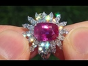 GIA Certified Estate UNHEATED Natural Ruby Diamond 18k Gold Vintage Cocktail Ring - A131476