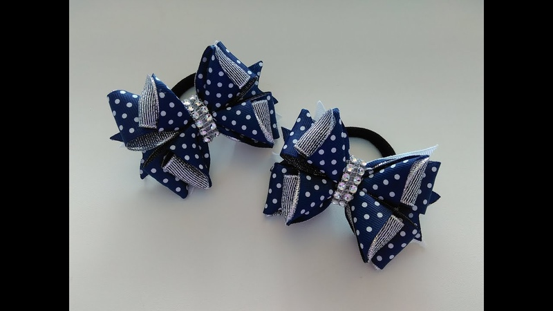Бантики из лент 2 5 см МК Канзаши Ribbon bows 2 5 cm MK Kanzashi