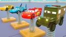 Aprenda camiones con mcqueen puesto en primavera, vehículos de calle para niños - Parking Vehilce