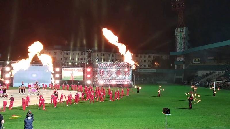 Огненное шоу на открытии фестиваля Сожский хоровод в Гомеле 14.09.2018