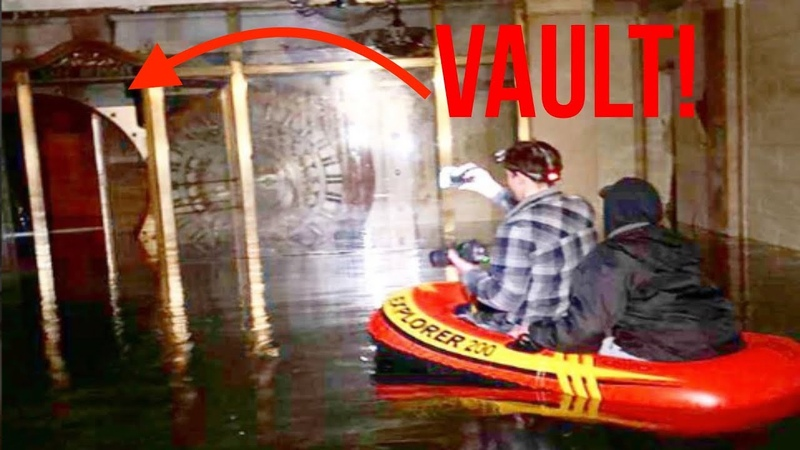 RAFTING IN ABANDONED FLOODED BANK VAULT *ABANDONED 1920S BANK BROKE INTO THE VAULT VIA RAFT